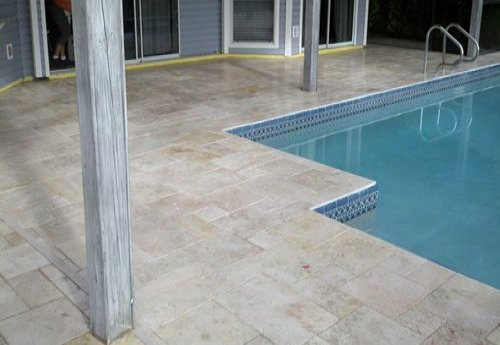 ivory travertine deck